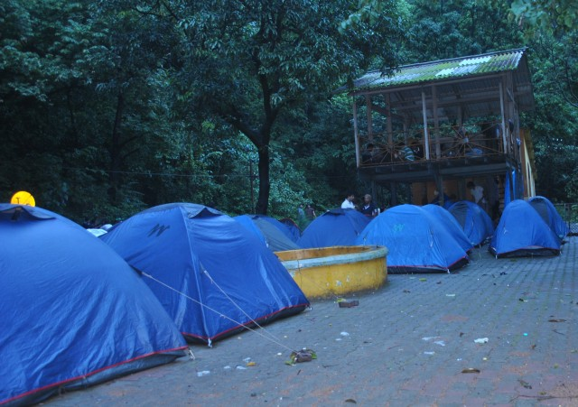 Camping site at Dudhsagar falls, you can see there is shelter which gives protection from rain if you are not carrying tent. Normally in weekends getting place to sleep there will be difficult. Its better to carry your tents. Make sure that your tent is rainproof if you are planing during monsoon
