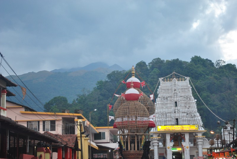 Kukke Subramanya Temple. Hill behind the temple is Shesha Parvatha. Kumara Parvatha is behind Shesha Parvatha