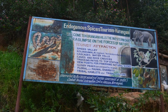 Top station trek : Kurangani hills information board